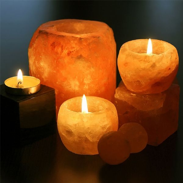 Premium Himalayan Salt Candle Holder (1 free candle included)